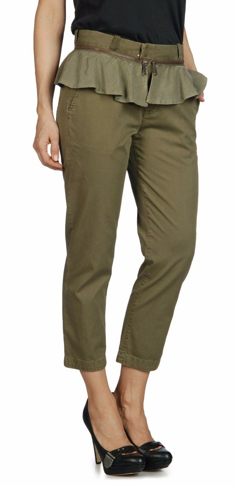 Diesel P-CLO Cotton Tapered Peplum Pants Trousers Hunter Green 26  228