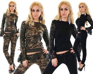 Tuta-donna-completo-pizzo-cotone-elasticizzato-fashion-nero-militare-sexy-nuovo