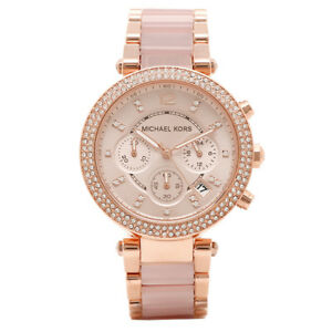 Michael Kors MK5896 Women s Parker Rose Gold Blush Crystal Set Watch ... 5e12a49c74