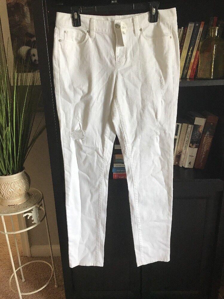 Ann Taylor LOFT Modern Skinny Womens Distressed White Jeans Pants Size 8  70  D4