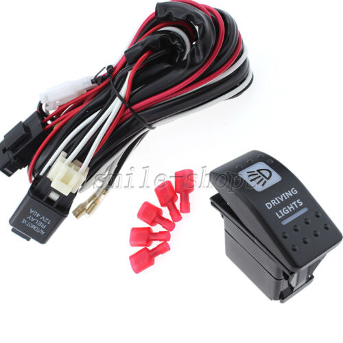 12V On//Off 40Am White Driving Light Rocker Switch with Relay Wiring Harness