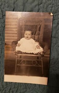 RPPC of Sweet Little Baby in Long Gown. Precious! Ray Deppen! Pretty Chair.
