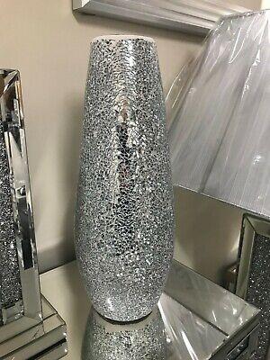 White /& silver sparkle ceramic decorative vases//ornaments