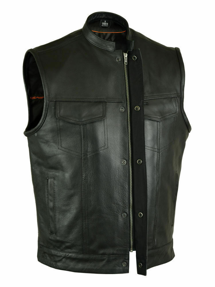 Men's Outlaw Leather Motorcycles Club & Biker Vest concealed carry Soft Leather