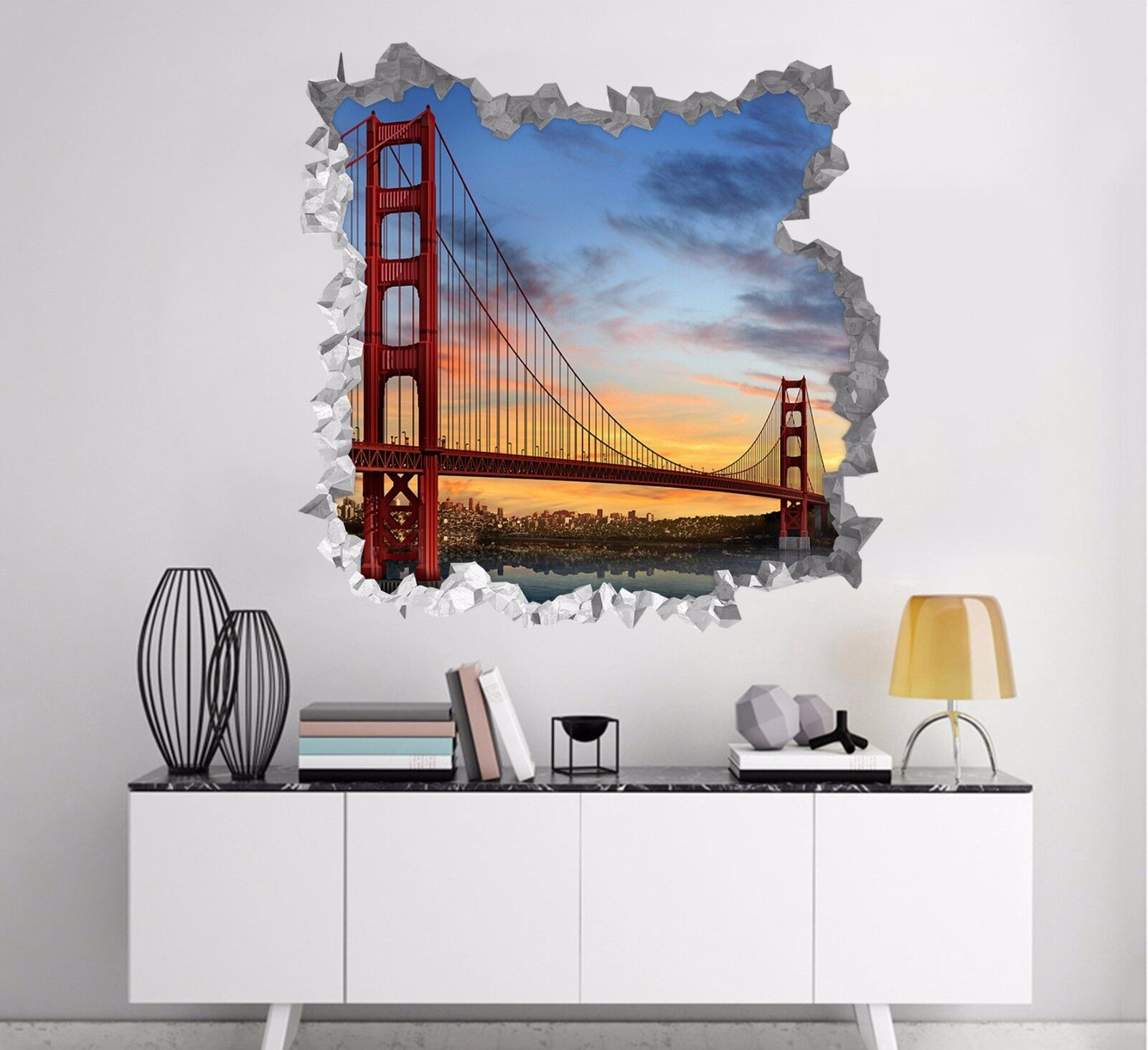 3D San Francisco Ponte 281 Parete Murales Parete Adesivi Decal Sfondamento IT