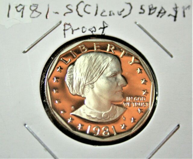 """1981-S Type 2 Cameo Proof Susan B Anthony dollar Type 2 Flat-Clear /""""S/""""."""