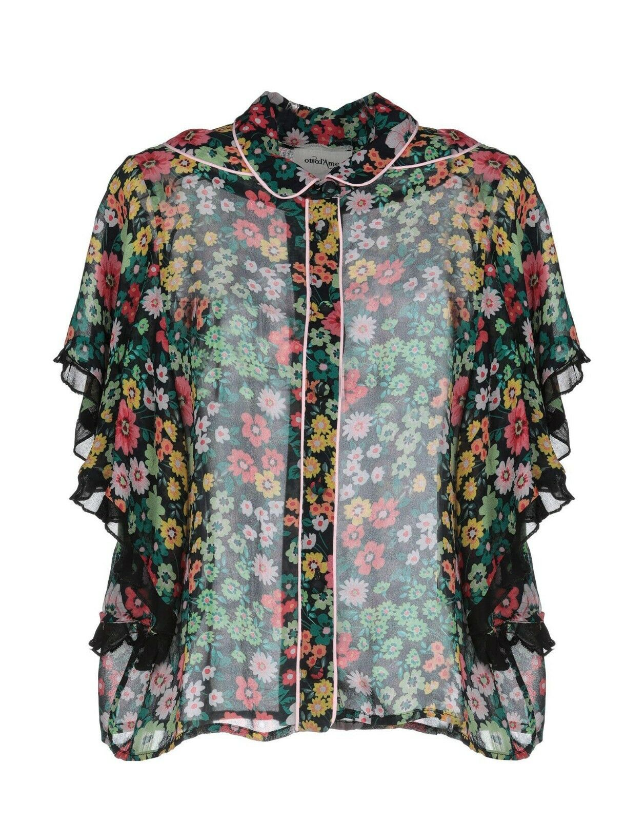 Anthropologie Ottod'Ame schwarz Floral Sheer Button Down Shirt Ruffle Sleeves Sz 6