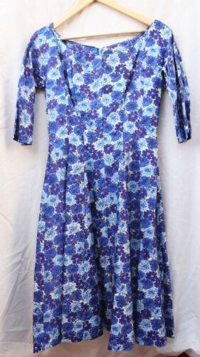 VTG 1950s 50s SUZY PERETTE Blue Floral Fit & Flar… - image 1
