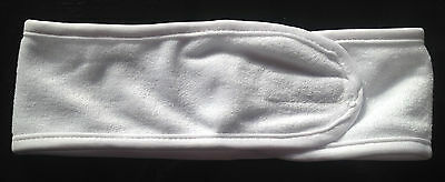 Beauty White Towelling  Hair Head Band Velcro  Make Up Cleansing Facial Spa
