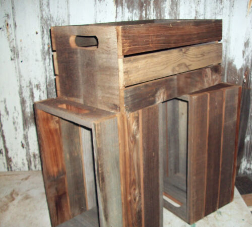 3pc Lot Antique Primitive Reclaimed Wood BarnWood Crates Shelf