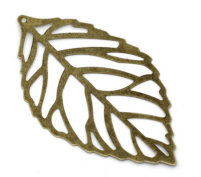 Wholesale HOT! Jewelry Bronze Tone Filigree Leaf Charm Pendants 54x32mm