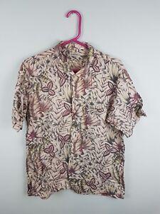 Vintage-Retro-Femme-Floral-Bright-Aztec-audacieux-Crazy-Navajo-Chemise-Hawaienne-Tres-bon-etat-UK-M
