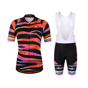 Zebra Women S Cycling Wear Bike Bicycle Jersey Shirts And Padded Bib Shorts Kit Ebay