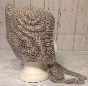 2019 DernièRe Conception Hand Knitted Baby Girls Bonnet, Avoine, Âge 9-12 Mois-afficher Le Titre D'origine