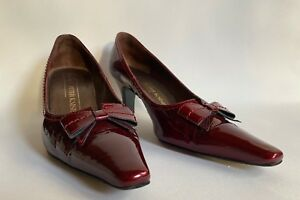 Peter-Kaiser-Bow-Court-Shoe-Cranberry-Patent-Leather-2-5-034-Slim-Heel-UK-4-EU-37