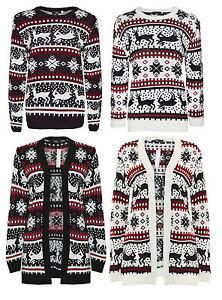 Ladies-New-Knitted-Reindeer-Fairisle-Christmas-Xmas-Retro-Open-Cardigan-Top