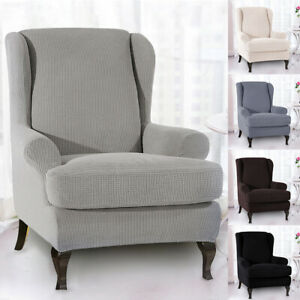 2PCS-Wing-Chair-Slipcovers-Stretch-Spandex-Cover-elastic-Armchair-sofa-cover-OZ