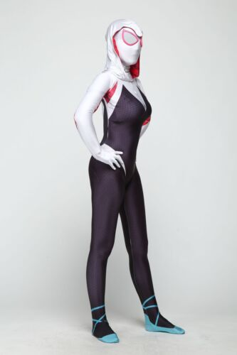 Women Girls Spider Gwen Stacy Zentai Spiderman Cosplay Costume Full Bodysuit