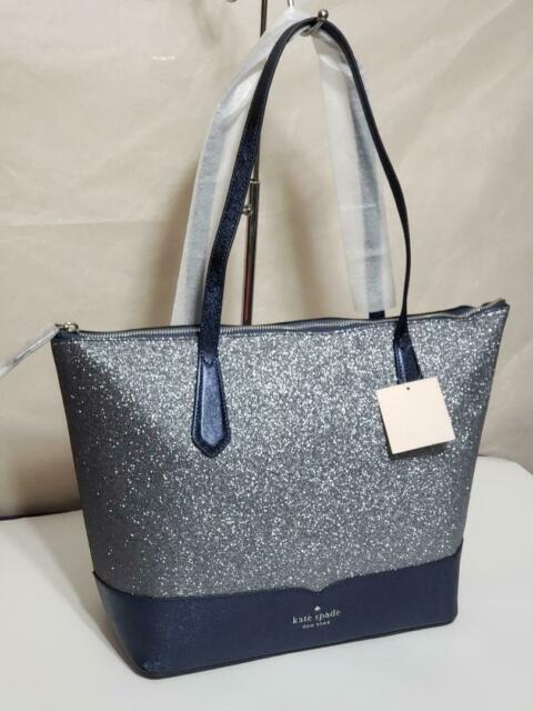 🌹NWT Kate spade lola tote glitter laptop shoulder bag satchel Blue handbag