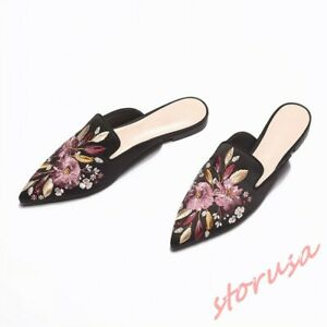 Womens-Pointy-Toe-Embroidery-Floral-Flats-Casual-Mules-Shoes-Slippers-Slides-sz
