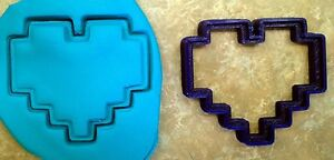 8 Bit Heart - Cookie Cutter - Choice of Sizes - 3D Printed Plastic