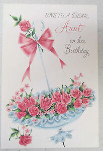 Vintage birthday greeting card dear aunt umbrella full of roses pink image is loading vintage birthday greeting card dear aunt umbrella full m4hsunfo