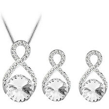 Silver and White Rhinestones Jewellery Wave Stud Earrings and Necklace Set S696