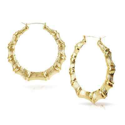 Large Circle Bamboo Earrings Gold Or Silver Hoop Bling Big 9cm - New