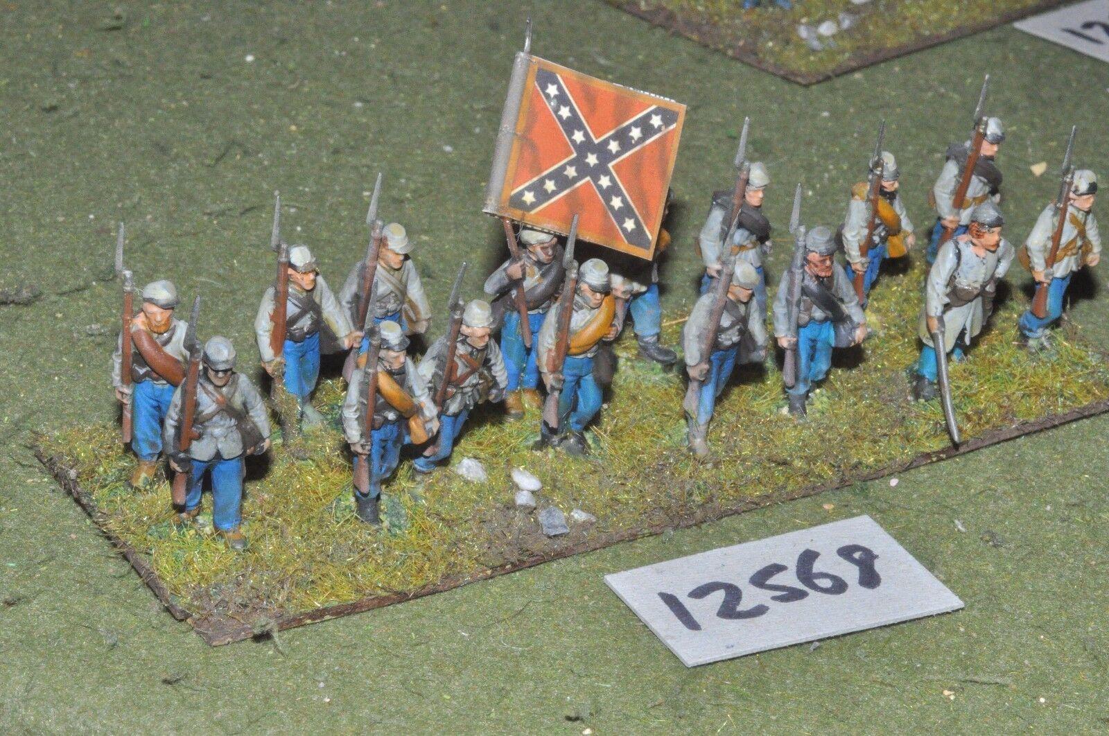 25mm ACW   confederate - american civil war inf plastic 16 figs - inf (12568)