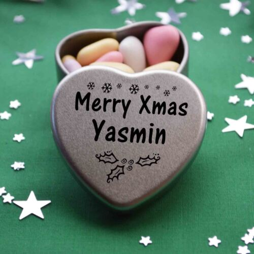 Merry Xmas Yasmin Mini Heart Tin Gift Present Happy Christmas Stocking Filler
