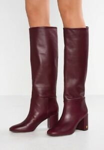 f81d437d5cb Details about $498 New Tory Burch BROOKE SLOUCHY BOOTS New Claret Leather  Burgundy Heels 9.5
