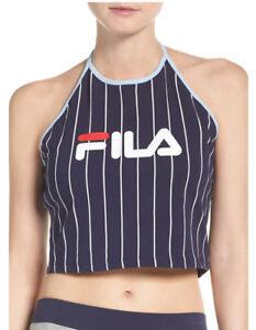 05ca488a263a6 Fila Sports Women's LUAN STRIP CROP HALTER TOP Navy/White LW171XR9 ...