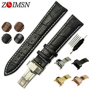 Watch-Band-Strap-Replacement-Genuine-Leather-Butterfly-Folded-Clasp18mm-24mm