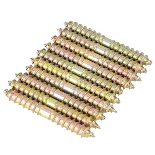 50mm Galvanized Dowel Screw Furniture Woodworking Connector Double 10pcs 6