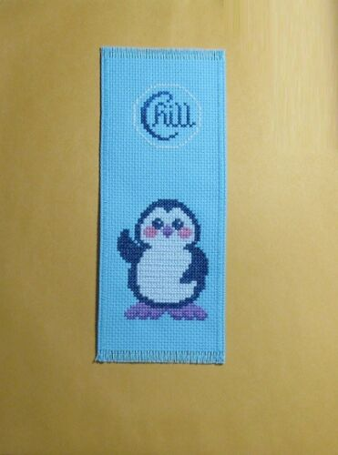 """COMPLETED CROSS STITCH BOOKMARK /""""   CHILL PENGUIN /"""" NEW!"""