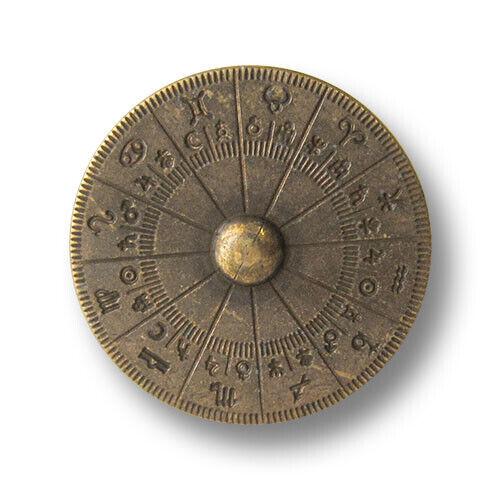 Horoskop 5 altmessingfb Kunststoffknöpfe mit Astrologie Motiv 3119am-20mm