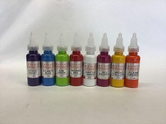AQUEOUS TATTOO INK VIOLET, BLUE, GREEN, RED, PINK, YELLOW, ORANGE 15/30ML  BUNDLE