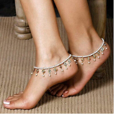 Nice Womens Beach Barefoot Sandal Foot Pearl Bead Jewelry Anklet Chain Tassel