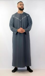 Mens-Designer-034-Taqwa-034-Jubba-Aqua-Slim-Fit-Round-Neck-Kaftan-Omani-Thobe-Dubai
