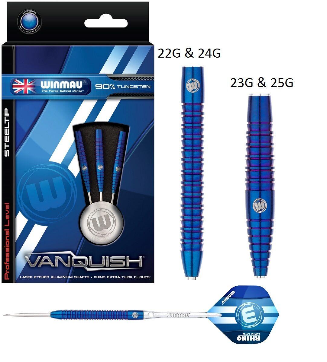 Winmau Vanquish 90% Tungsten Steel Tip Darts - bluee Titanium Nitride Coating
