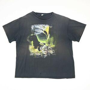 Sun-Faded-Distressed-Bald-Eagle-T-Shirt-XL-Black-Distressed-Grunge-Biker-Trucker
