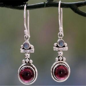Charm-Long-925-Silver-Moonstone-Red-Agate-Dangle-Hook-Earrings-Wedding-Jewelry