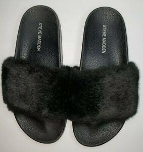 Steve Madden Softey Black Faux Fur Spa