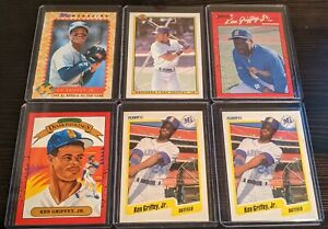 26-1990-Ken-Griffey-Jr-Rookie-Card-Mariners-Lot-with-2-Rare-Green-Star-Ad-Cards