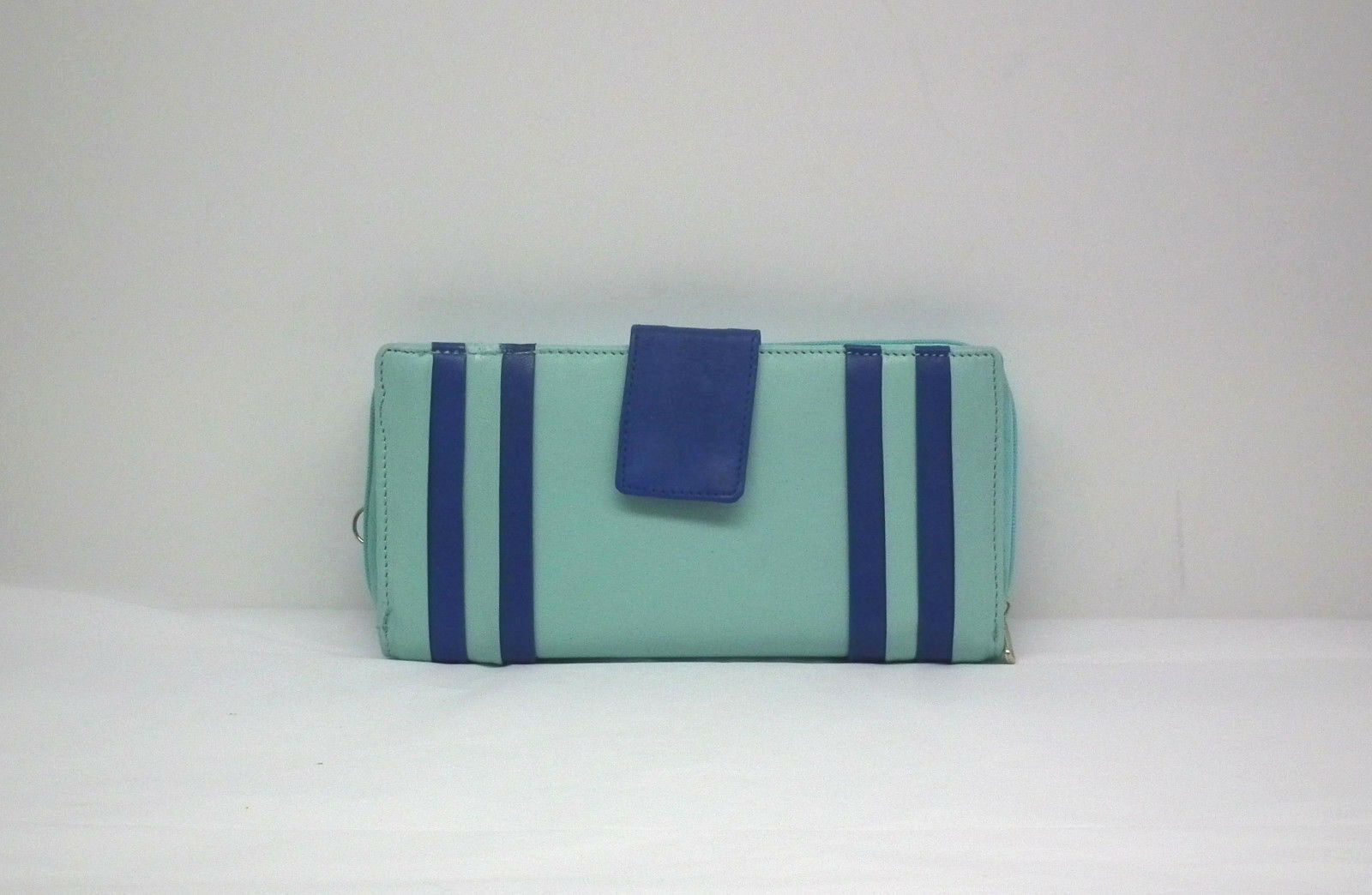 Leather Wallet Lt. Turquoise w/Blue Trim Zipper&Snap Compartments Free Ship NWT