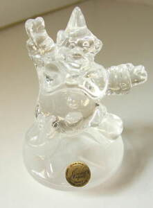 Beautiful-French-Cristal-d-039-Arques-Crystal-Circus-Clown-on-Frosted-Base-NEW