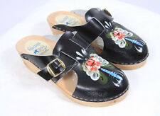 DALA CLOGS Hand Painted Floral Black Leather Wood Mule Shoes Womens EU 36 US 5
