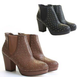 Womens-Heeled-Booties-High-Heels-Block-Shoes-Platform-Chelsea-Ankle-Boots-Size