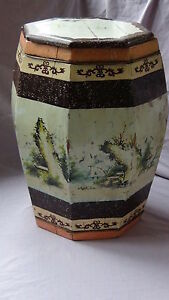 Antique 19c Chinese Hand Painted Wooden Rice Octagonal