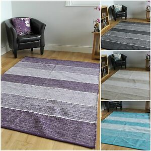 purple and beige living room modern stripe reversible cotton rugs blue grey beige 19382